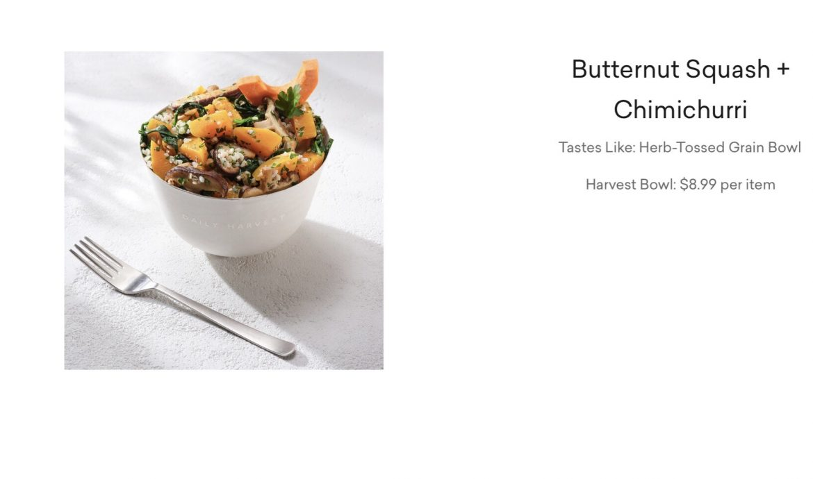 Butternut Squash and Chimichurri Harvest Bowl,  Daily Harvest